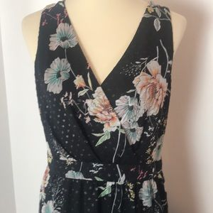 INC Black Floral Asymmetrical Maxi Dress